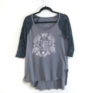 Free People Tops - Free People Flying Wild Graphic Lace Raglan Top